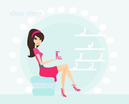 pump shoe: Fashion girl shopping in shoe shop  vector illustration