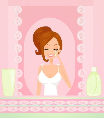 face wash: Cute woman applying moisturizer  vector illustration