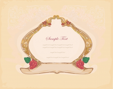 Grunge Frame For Congratulation With Flower  Stock Vector - 13753645