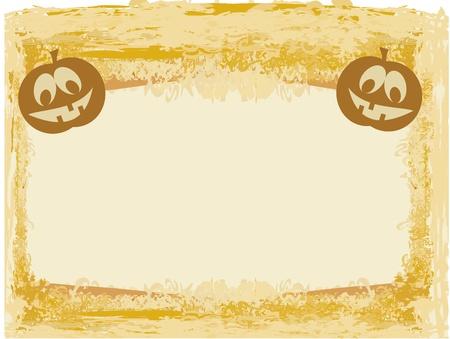 chap: broken halloween pumpkin on grunge background vector illustration