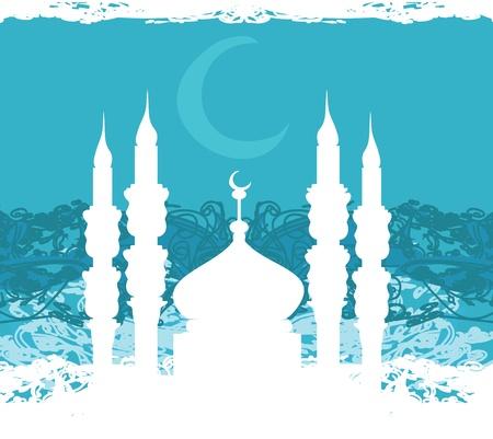 masjid: Ramadan background - mosque silhouette vector card