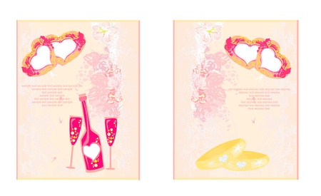 Wedding banners with champagne and rings  vector illustration Stock Vector - 13728907