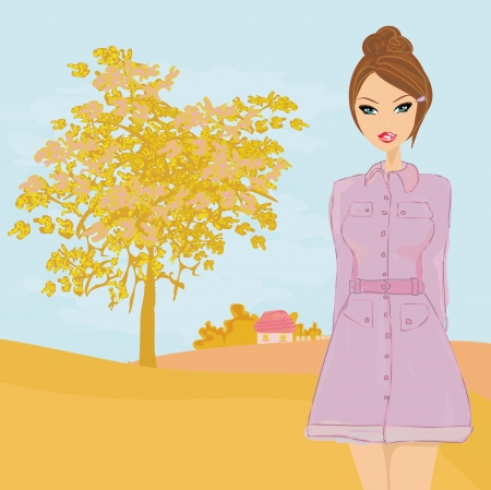 forsythia: beautiful autumn girl - vector  Illustration