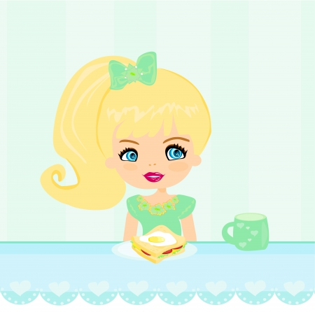 bread and butter: cute little girl eating breakfast in the kitchen  Illustration