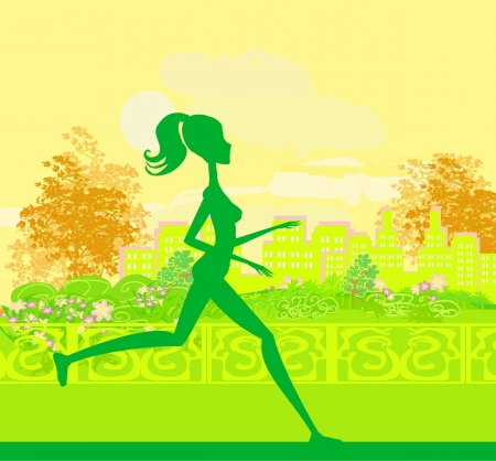 Jogging girl in summer  Stock Vector - 13747429