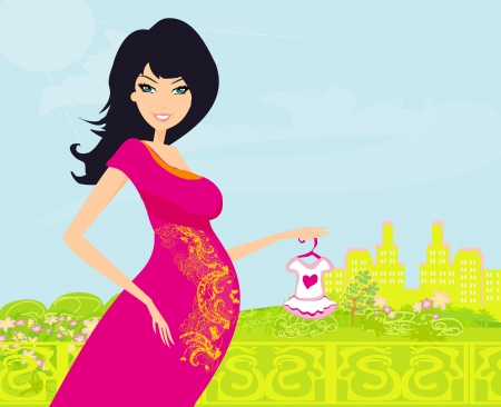 Beautiful pregnant woman on shopping for her new baby Stock Vector - 13747421