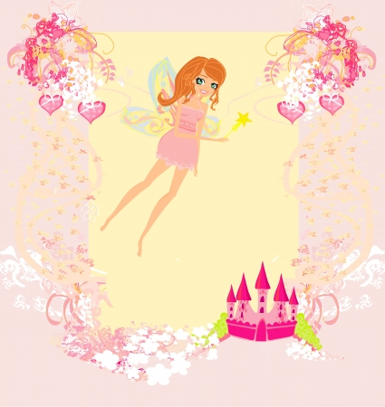 fairy flying above castle  Stock Vector - 13760087