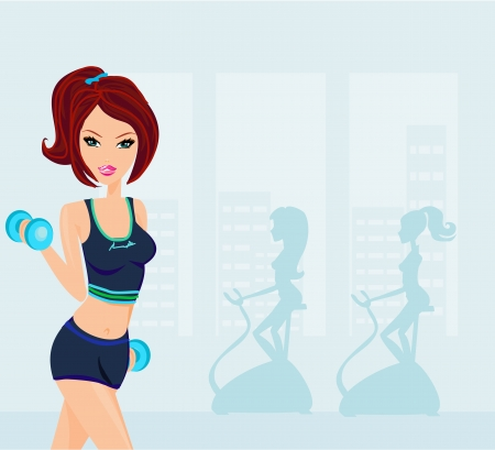 exercise cartoon: woman exercising in gym