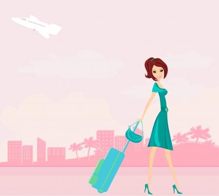 schoonheid reizen meisje met bagage Vector Illustratie