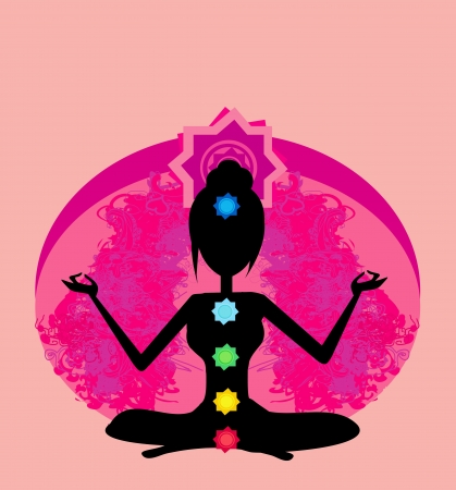 Yoga lotus pose  Padmasana with colored chakra points  Vector