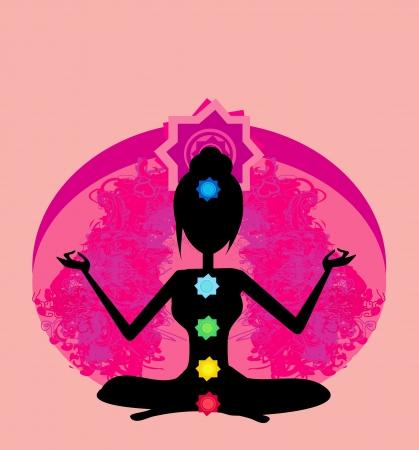 yogi aura: Yoga lotus pose  Padmasana with colored chakra points