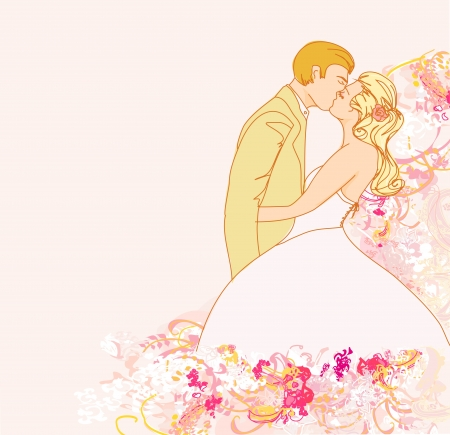 wedding couple kissing - vintage background  Stock Vector - 13766777