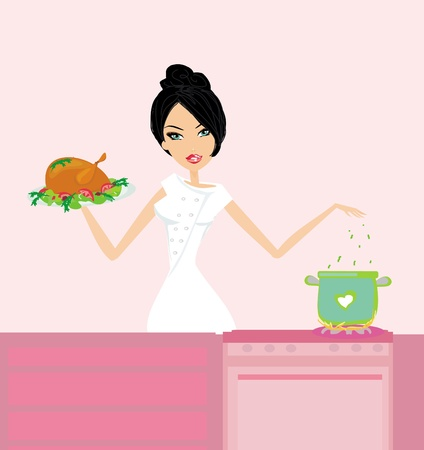 Beautiful lady cooking chicken Stock Vector - 13766770
