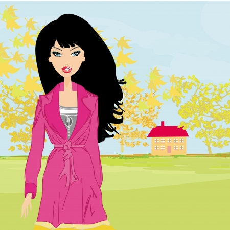 forsythia: beautiful autumn girl  Illustration