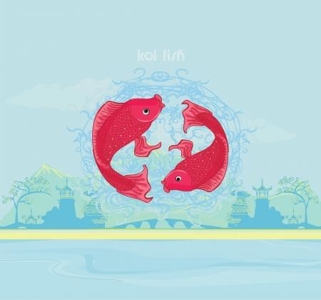 japanese koi background  Illustration