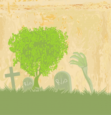 zombie hand coming out of his grave Stock Vector - 13774735