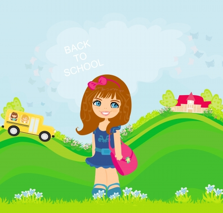 first grade: girl going to school  Illustration
