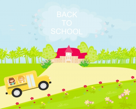 school bus heading to school with happy children Stock Vector - 13799833