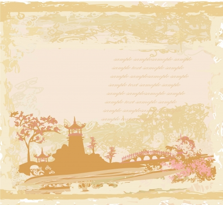 chinese temple: old paper with Asian Landscape