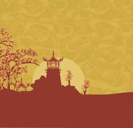 asian culture: vecchia carta con Asian Landscape