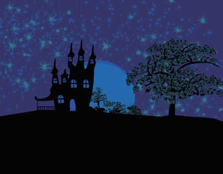 grungy Halloween background with haunted house  Stock Vector - 13855630