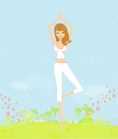 woman in a traditional yoga pose illustration Stock Vector - 13855640