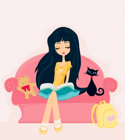 Teen girl Reading A Book  Stock Vector - 13909958