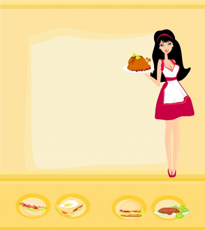 Beautiful Waitress serving a chicken  Vector