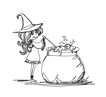 magic eye: Halloween witch preparing potion - doodle