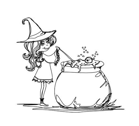 sorci�re halloween: Potion de sorci�re Halloween pr�paration - doodle