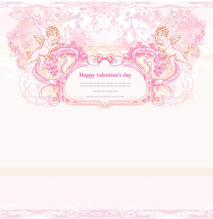 happy valentines day card with cupid Stock Vector - 13882108