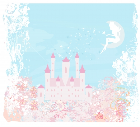 fairy flying above castle Stock Vector - 13882106