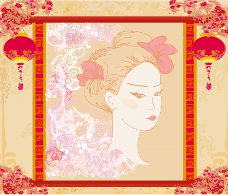 geisha: Abstract Beautiful geisha portrait