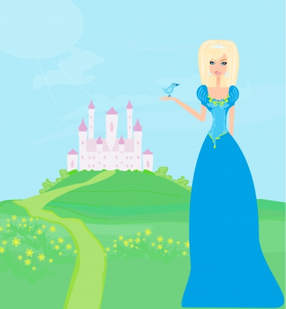 Beautiful young princess in front of her castle Stock Vector - 13882109