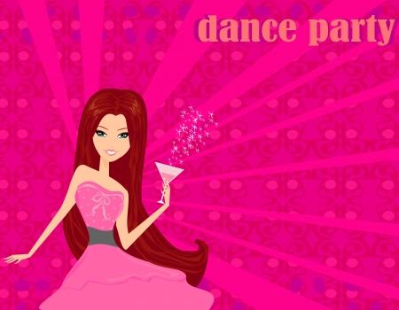 Beautiful disco girl with drink