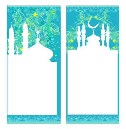 ramadan kareem: Ramadan background - mosque silhouette card set  Illustration