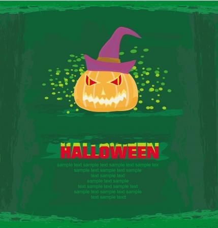 chap: broken halloween pumpkin on grunge green background illustration