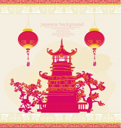 old paper with Asian Landscape and Chinese Lanterns - vintage japanese style background  Vector