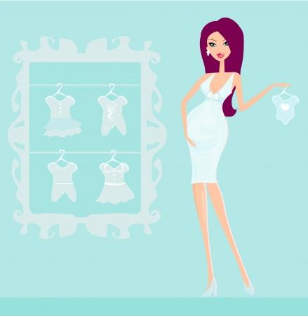 awaiting: Hermosa mujer embarazada en compras para su nuevo beb� Vectores