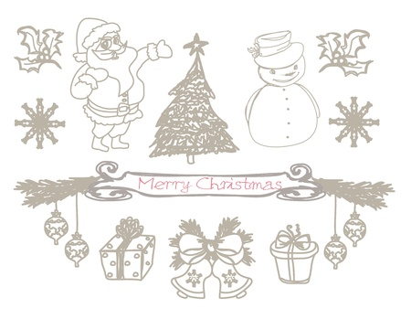 hand drawn christmas doodles  Vector