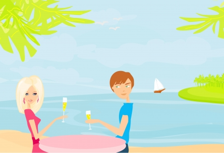 Happy young couple on a tropical beach  Stock Vector - 13933462