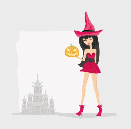 grunge halloween witch  Vector