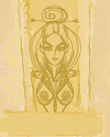 Halloween witch - doodle vector grunge portrait Stock Vector - 13933483