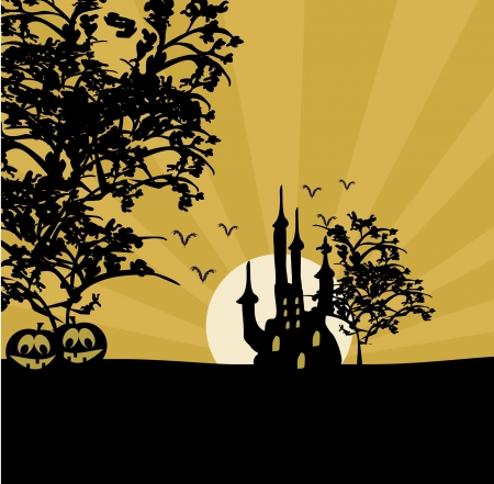 grungy Halloween background with haunted house  Vector