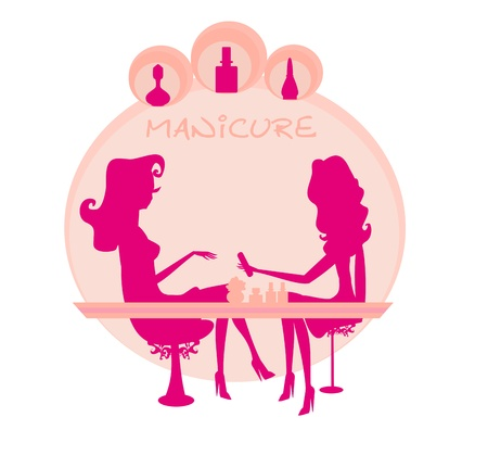 manicure salon: Young lady doing manicure in beauty salon