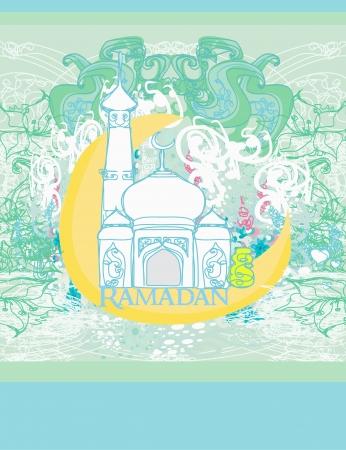 Ramadan background - mosque silhouette  Illustration
