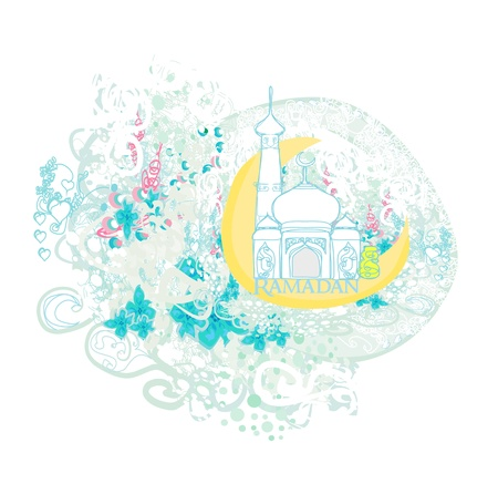 feter: artistic pattern background with moon and mosque
