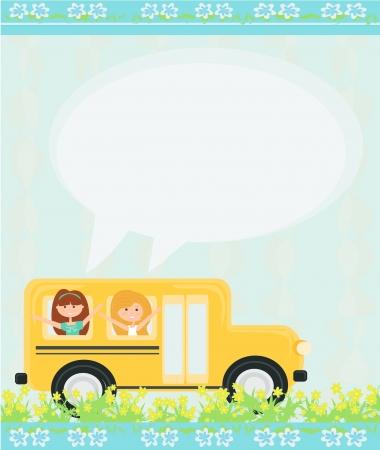 school bus heading to school with happy children Vector