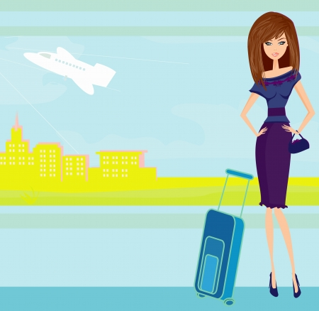 beauty travel girl with baggage Ilustracja