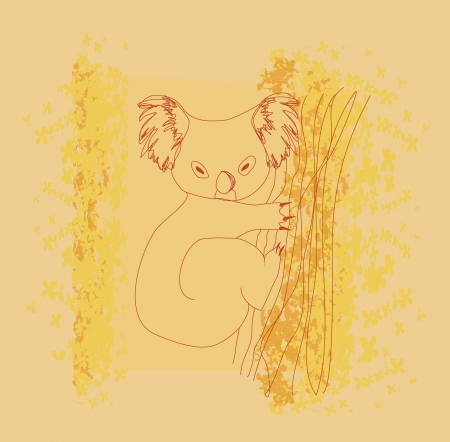 Koala sitting in a tree  Illustration Vector